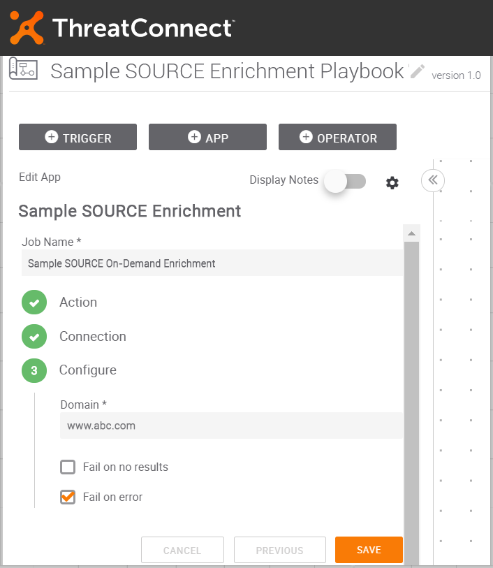 Provide value for the selected Enrichment Type on ThreatConnect