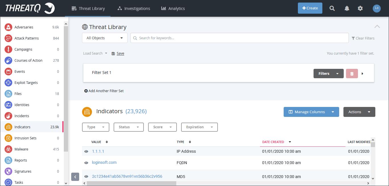 ThreatQ platform with the Threat Intelligence Feed added