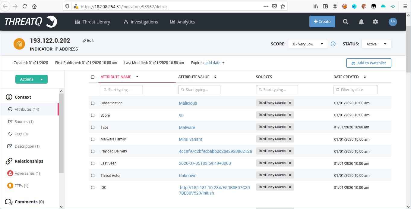 Sample IP Address Indicator with Attributes on ThreatQ Platform